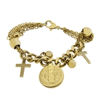 21 cm Gold Finish Saint Benedict with Crucifix Stainless Steel