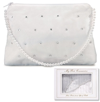 Pearl and Rhinestone First Communion Purse