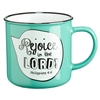 Rejoice in the Lord Scripture Bubble in Turquoise Ceramic Philippians 4:4 Coffee Mug