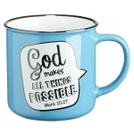 All Things Possible Scripture Bubble in Blue Ceramic Mark 10:27 Coffee Mug
