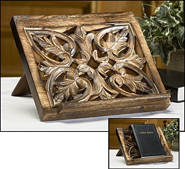 Wood Carved Bible/Missal Stand