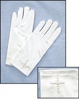 Pearl Cross - First Communion Gloves