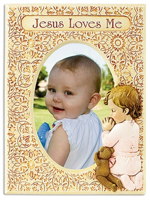 Girl's Photo Frame - Jesus Loves Me Praying Child