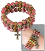 Triple-Strand Beaded Bracelet with Cross Charm