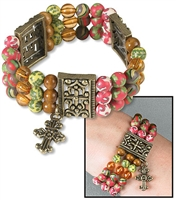 Triple-Strand Beaded Bracelet with Cross Charm and Panels
