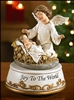 Angel with Baby Jesus at the Manger Musical Figurine