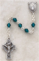 Genuine Silver-Plated Pewter Emerald Rosary