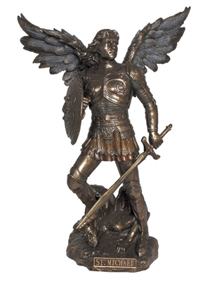 Archangel Michael, cold cast bronze, 9""