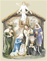 Nativity plaque-Veronese, hand-painted bronze, 13x16x3""