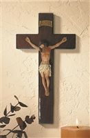 Mahogany Burlwood Crucifix 10 inches