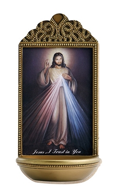 "6"" Divine Mercy Holy Water Font"