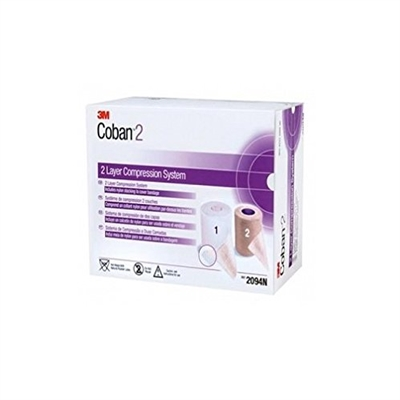 "3M Health Care 2094N, 3M COBAN COMPRESSION SYSTEM Compression System Includes: Roll 1 Comfort Layer 4"" x 2.9 yds, Unstretched, Roll 2 Compression Layer 4"" x 5.1 yds, Fully Stretched, 1/bx, 8 bx/cs, CS"