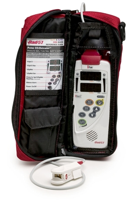 Red water-resistant carrying case for the Rad-57 sensor
