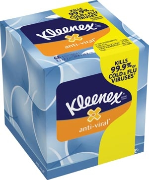 Kimberly-Clark Professional 49978, KIMBERLY-CLARK FACIAL TISSUE Kleenex Anti-Viral, 68 sheets/bx, 27 bx/cs (36 cs/plt), CS