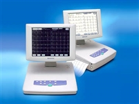 "Nihon Kohden ECG-1500, Cardiofax V Data are easily read on the swivelling 12.1"" TFT-LCD display with touchscreen, which can be set to an ideal angle even during patient treatment. The trace display and printout use the same size format."