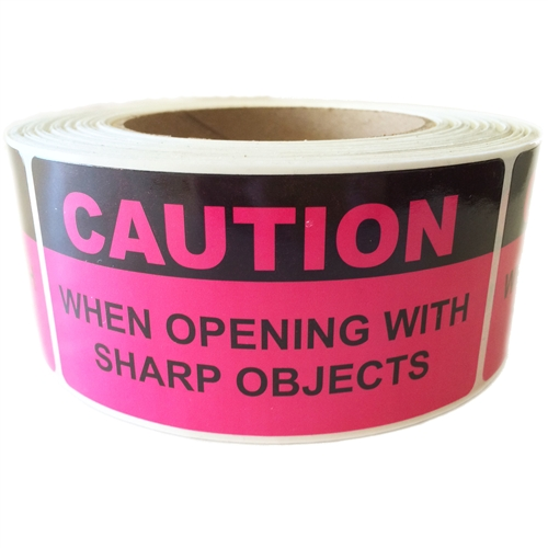 1 Roll 4x2 Red Caution When Opening with Sharp Objects Special Handling Shipping Warehouse Pallet Stickers 500 Labels per roll