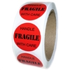 "Red ""FRAGILE Handle with Care"" Labels - 1.5"" diameter - 500 ct"