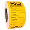 "Fluorescent Orange ""Hold Quality Control"" Labels - 3"" by 5"" - 500 ct"