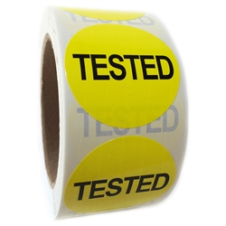 "Yellow ""Tested"" Label  - 2"" diameter - 500 ct Roll"