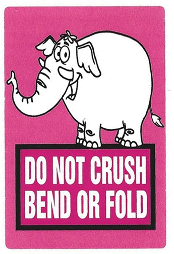 pink elephant do not crush bend or fold stickers 3 by 2 1000 ct