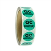 "Green ""QC Approval"" Labels - 1"" diameter - 500 ct Roll"