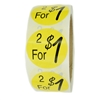 "Yellow ""2 for $1"" Labels Stickers - 1.5"" diameter - 500 ct Roll"