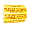"Yellow and Red ""Please Scan Me Thank You"" Labels Stickers 1"" by 4"" - 500 ct"
