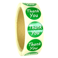 "Green ""Thank You"" Labels Stickers - 1"" diameter - 500 ct Roll"