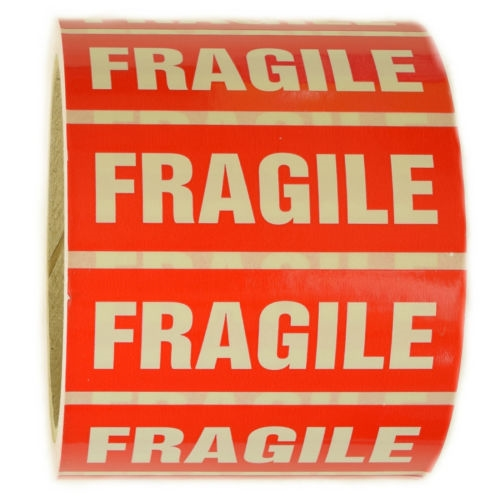 Red and white fragile sticker label 1 by