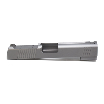 1911 9mm Stainless Commander Slide Front, Rear and Top Serration Slab Side with RMR Sight Cut