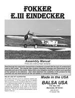 Fokker Eindecker 90 Plans and Instruction Manual