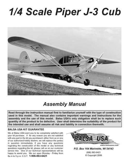 1/4 Scale J-3 Cub Plans and Instruction Manual