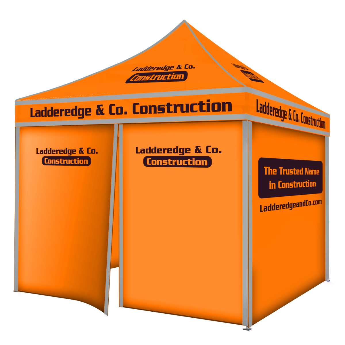 10ft Pop Up Canopy (Steel) - Full Color with 4 Full Walls - Zipper Door Opening - with Noctilucent Fabric
