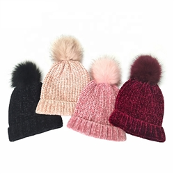 Knitted Bobble Hat - Roll Up Hem