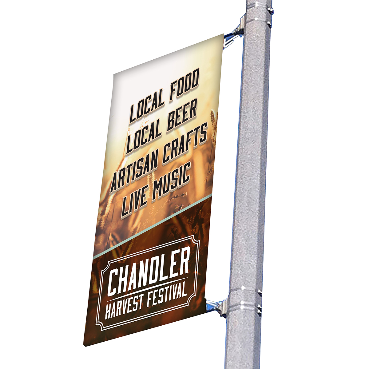 "18"" wide single side pole banner"