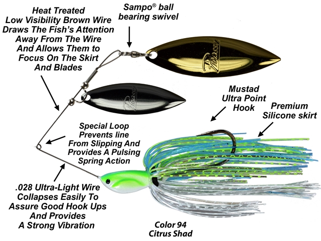 Picasso Spinnerbaits -  INVIZ-WIRE- Double Willow