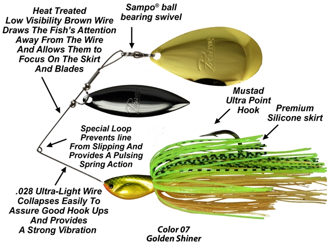 Picasso Spinnerbaits -  INVIZ-WIRE- Willow Indiana