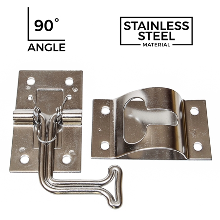 "2"" Wire Door Holder w/ Keeper - Stainless Steel - 90 Degree Bend"