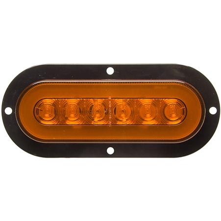 22 LED Oval GLO Flange Light Amber/Amber - 6""