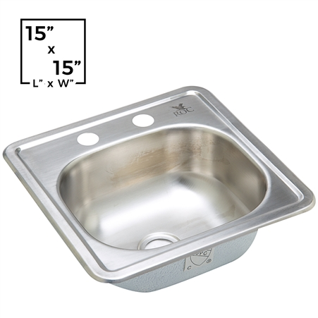 "2 Hole Bar Sink - Stainless Steel - 15"" x 15"" x 5-1/2"""