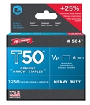 "AFT50-1/4 Arrow T50 1/4"" Staples 1250/Pk."