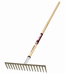 "TR31390 Truper 16Tine Road Stone Rake with 60"" Wood Handle. Sold in 6pks."