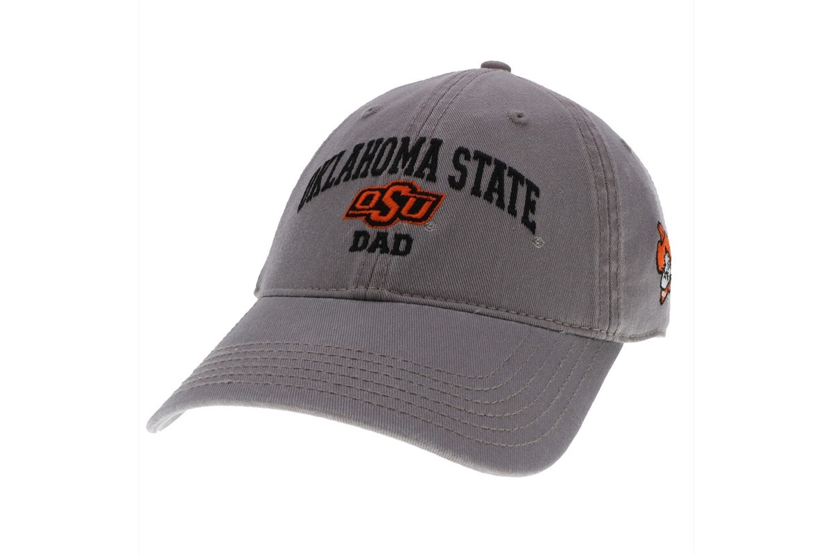 cfefb45ba94 This relaxed twill hat by Legacy is gray with the classic arched Oklahoma  State logo and OSU Brand logo with DAD ...