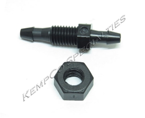 "1/8"" Dual Hose-Barb Miniature Thru-Panel Straight with Hex Nut - Black Nylon"