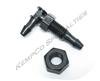 "1/8"" Dual Hose-Barb Miniature Thru-Panel Elbow with Hex Nut - Black Nylon"