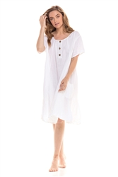 Crinkle Cotton Button Front Dress