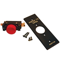 C0521 - Jamb Mount 1 inch RED Push Button Switch w/Push to Open Face Plate - (Horton)