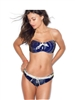 Blue with White Dots 2 Pieces Bikini/Strapless Swimsuit