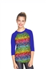 Terez - Girls Emoji Rainbow 3/4 Sleeve Baseball T-Shirt