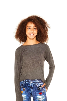 Girls Heather Charcoal Long Sleeve Baseball Top